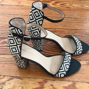 Zara Black/White Aztec Ankle Strap Heels